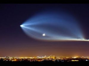 space rocket launching in sky